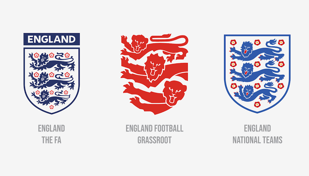 3 different england football badges