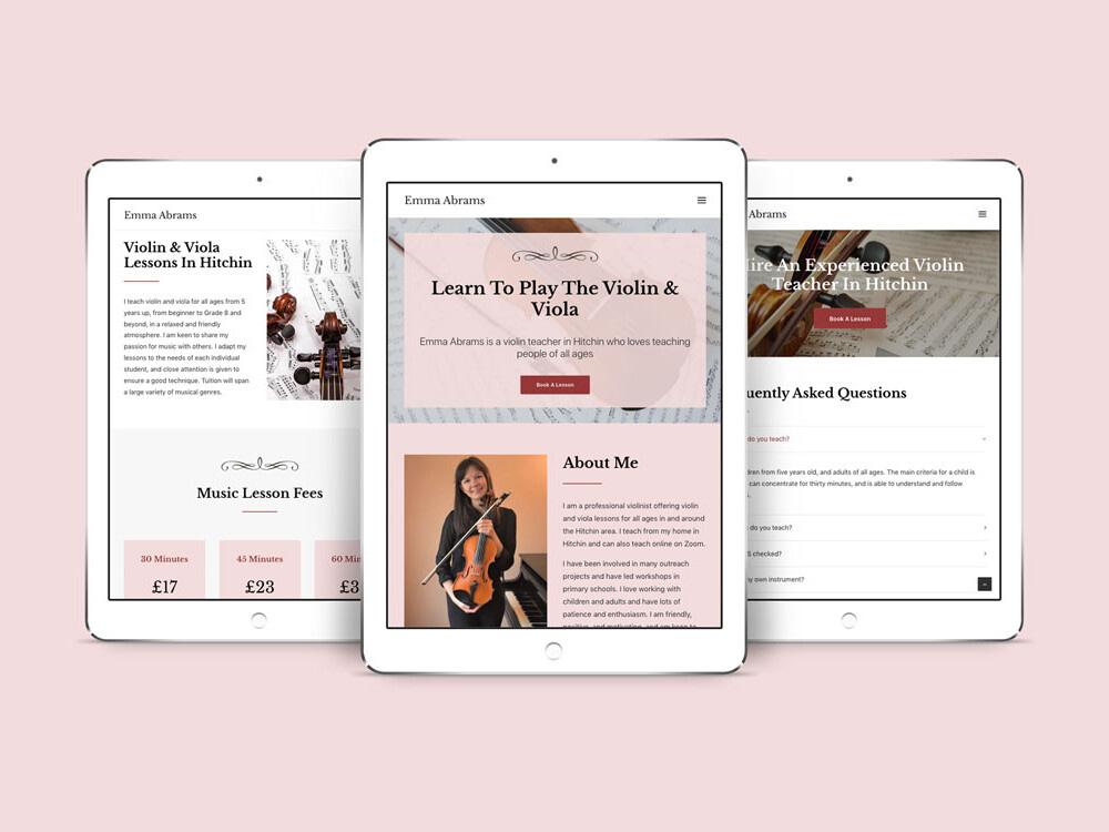 emma abrams violin teacher iPad Pro mockup uai