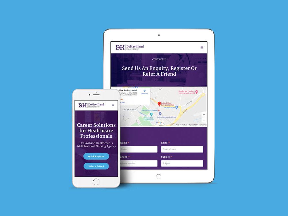 website tablet mobile mockup Dehavilland Healthcare uai