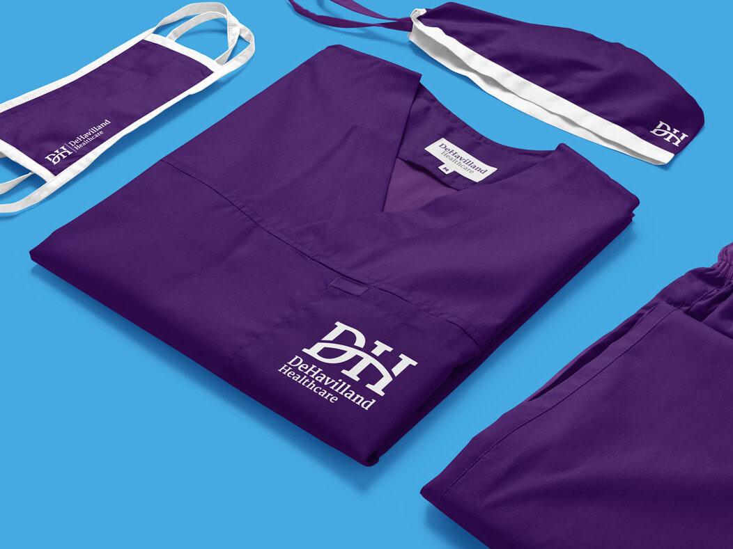 DeHavilland healthcare medical scrubs tunic set mockup uai