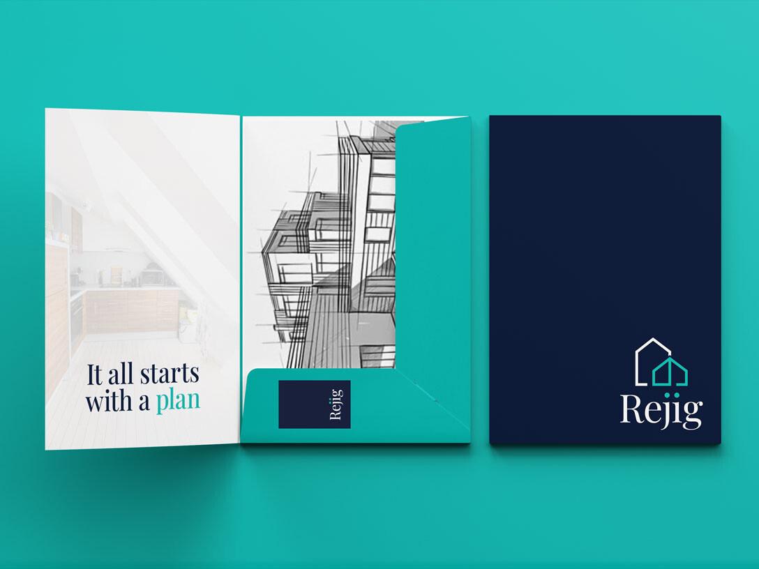 REJIG HOMES ARCHITECTURAL BRAND DESIGN A4 PRESENTATION FOLDER MOCKUP uai