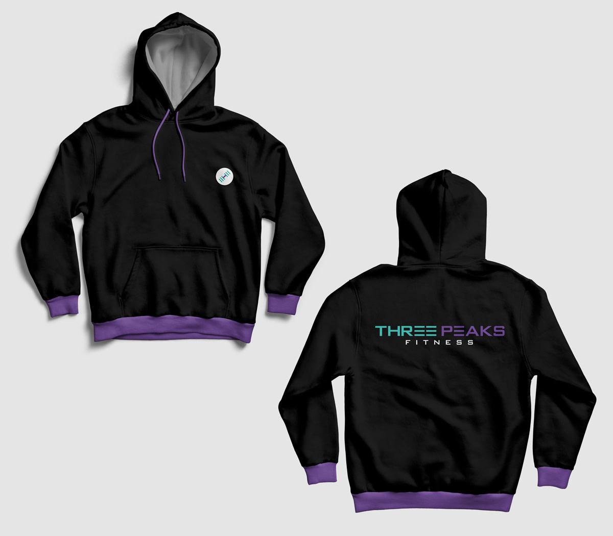 three peaks fitness hoodie mockup