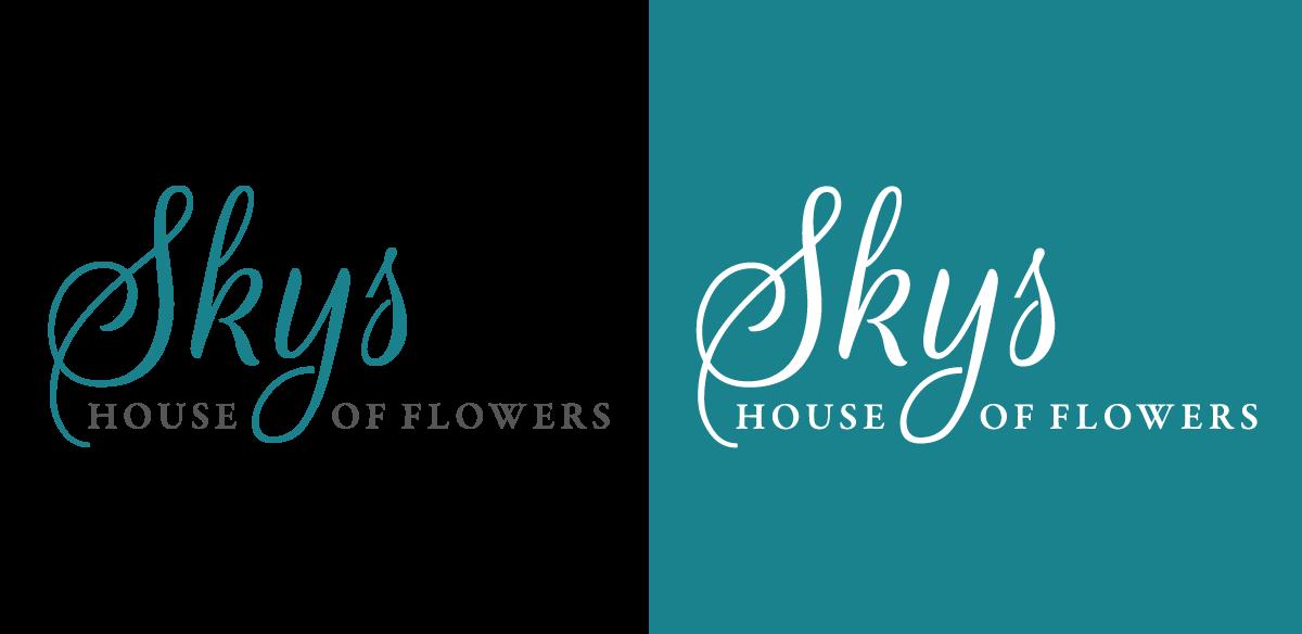 skys house of flowers logo wordmark design