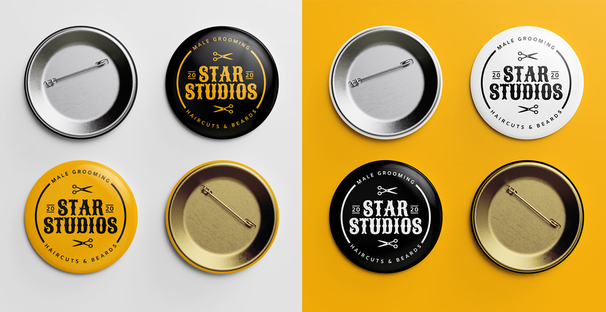 STAR STUDIOS badge mockup black orange 3