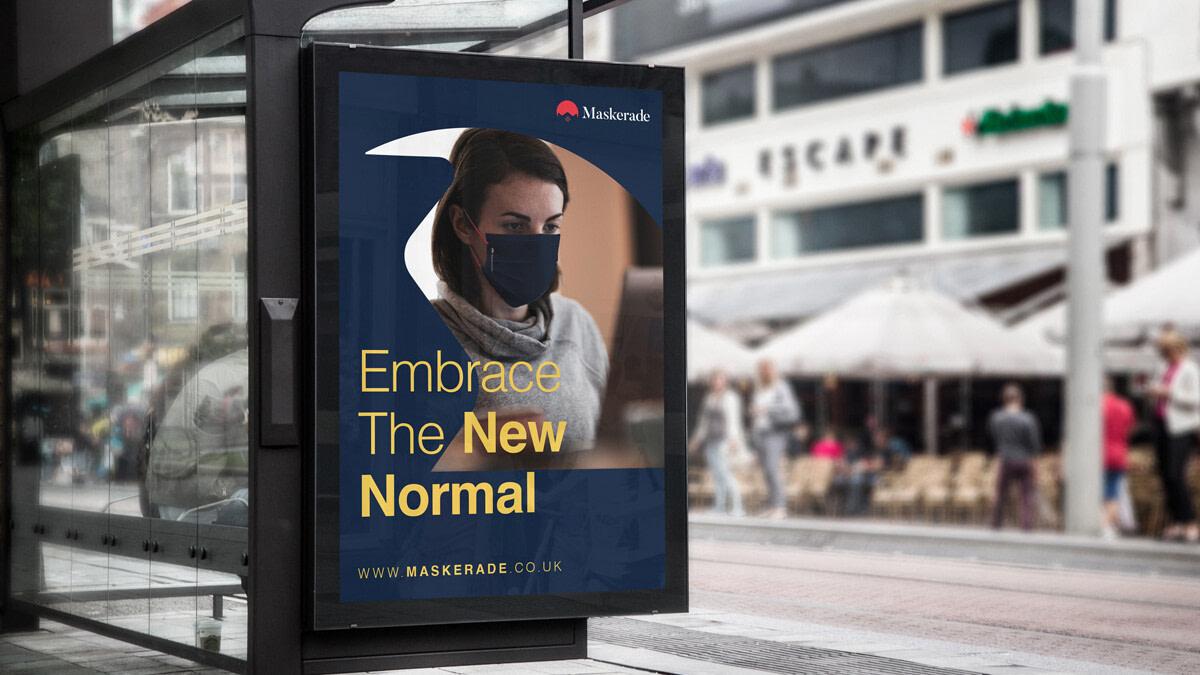 Maskerade branding design Bus Stop Billboard MockUp optimised uai