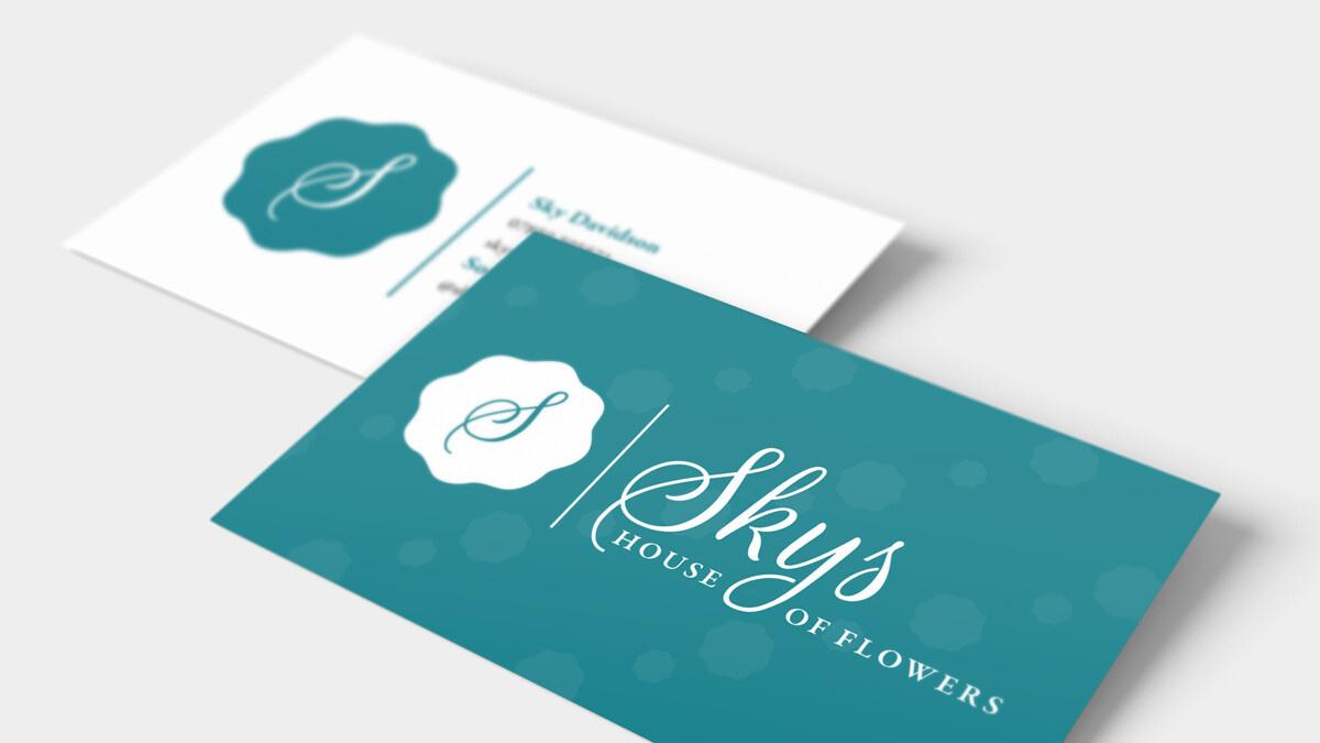SKYS HOUSE OF FLOWERS Business Card DESIGN Mockup uai