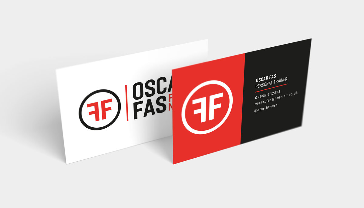 OSCAR FAS FITNESS PERSONAL TRAINER LOGO BUSINESS CARD MOCKUP UPRIGHT