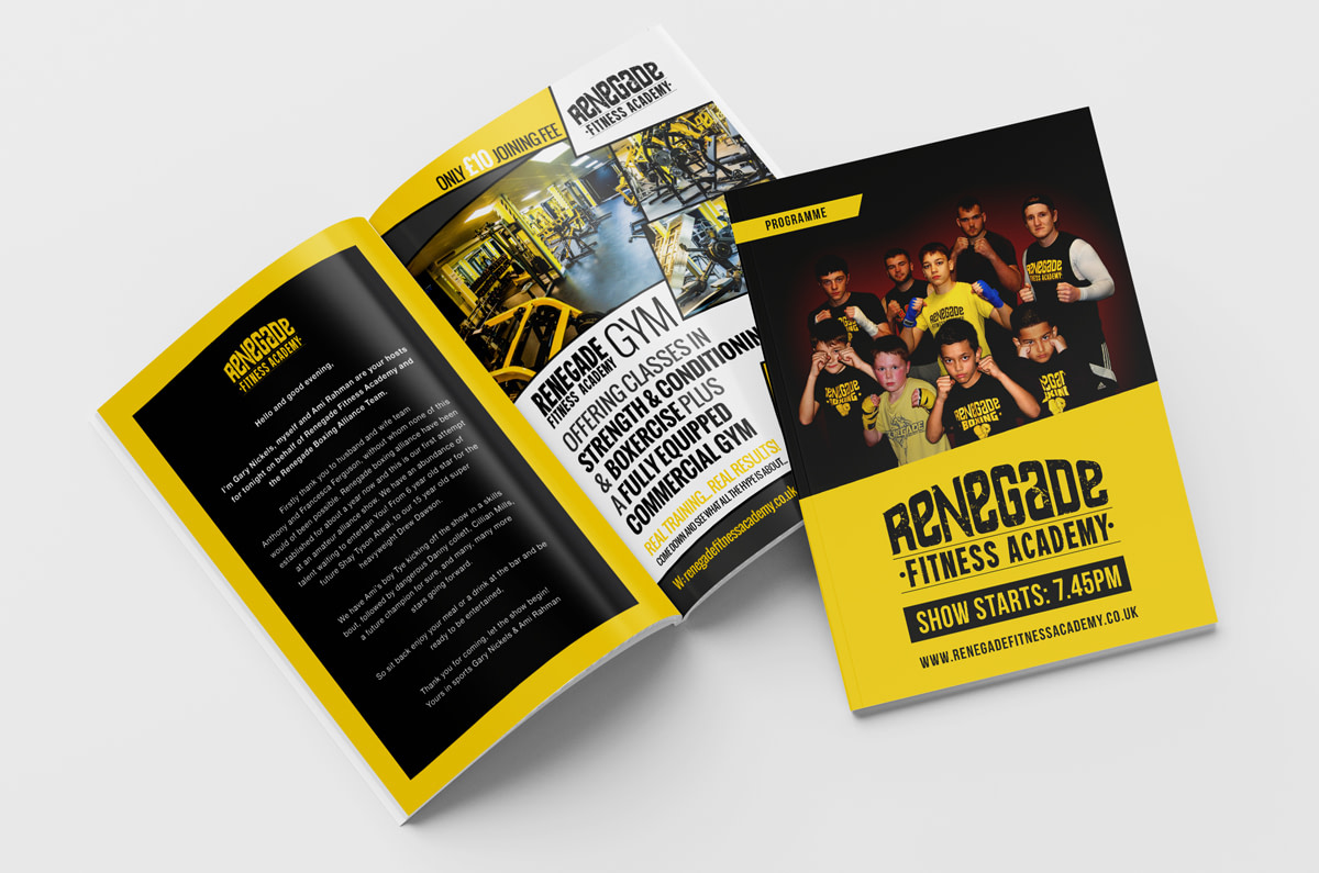 Renegade Fitness Academy Fight Night Programme Mockup Inside Front View
