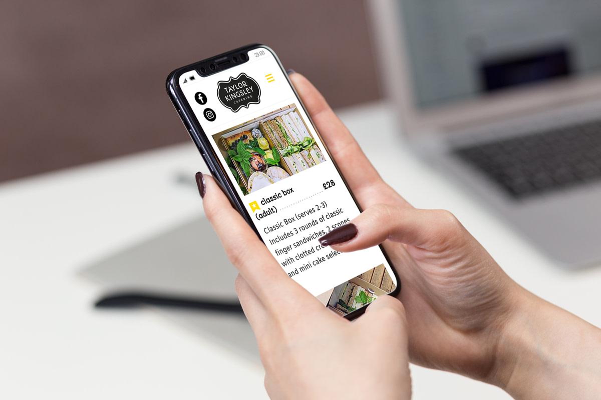 TKCATERING IPHONE WEBSITE MOCKUP