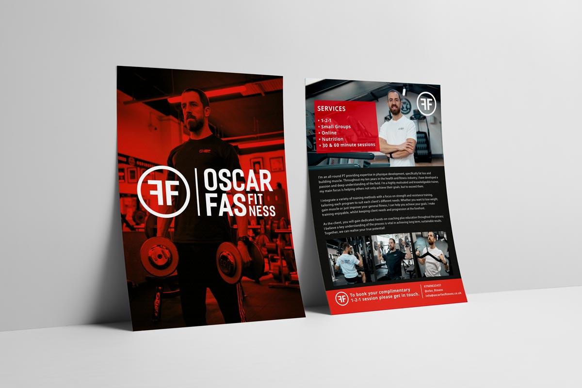 OSCAR FAS FITNESS PERSONAL TRAINER LOGO A5 LEAFLET FLYER MOCKUP