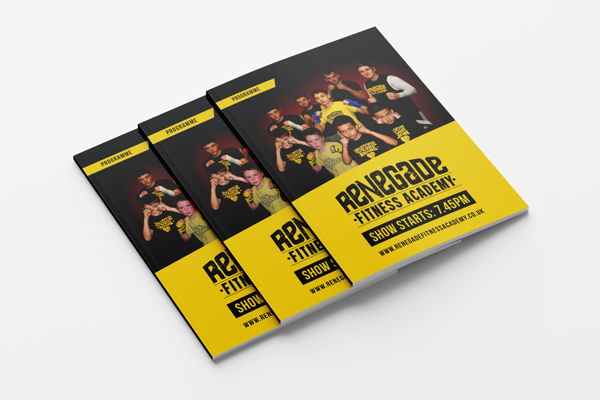 Renegade Fitness Academy Fight Night Programme Mockup Front View