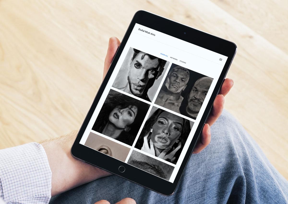 hyperrealism artist website design tablet mockup