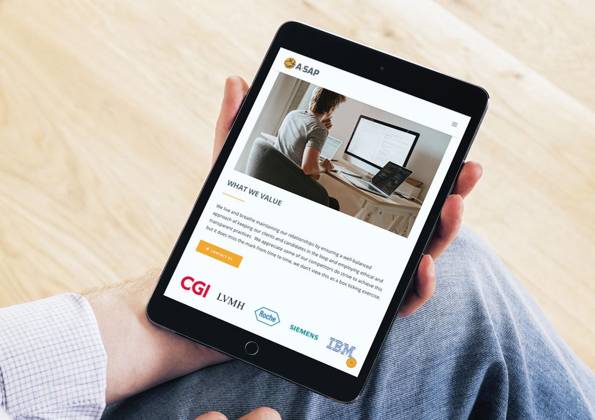 A SAP RECRUITMENT WEBSITE MOCKUP IPAD