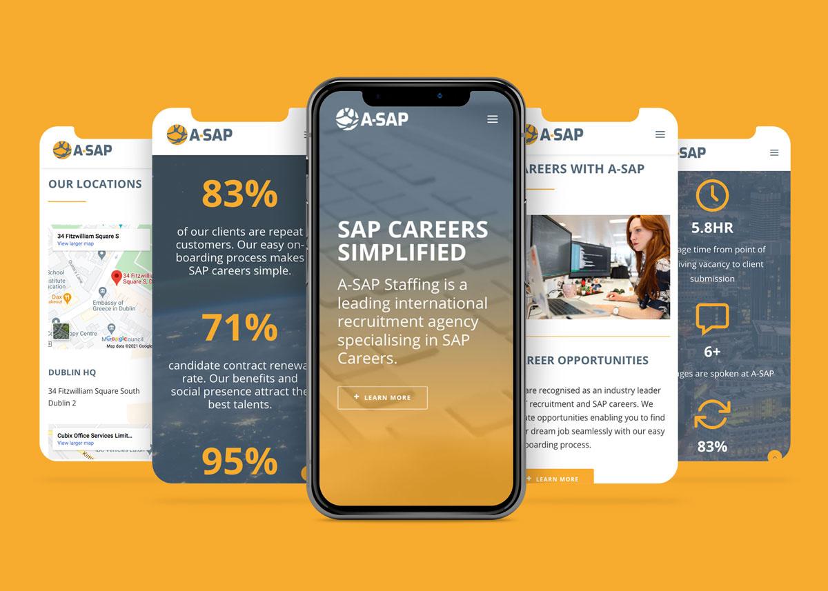 A SAP RECRUITMENT WEBSITE MOCKUP MULTIPLE MOBILE VIEWS