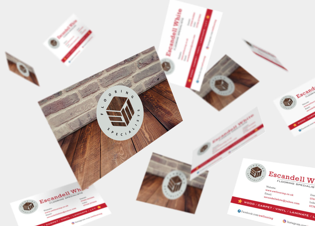 escandell white hertfordshire flooring specialists business card design flying mockup