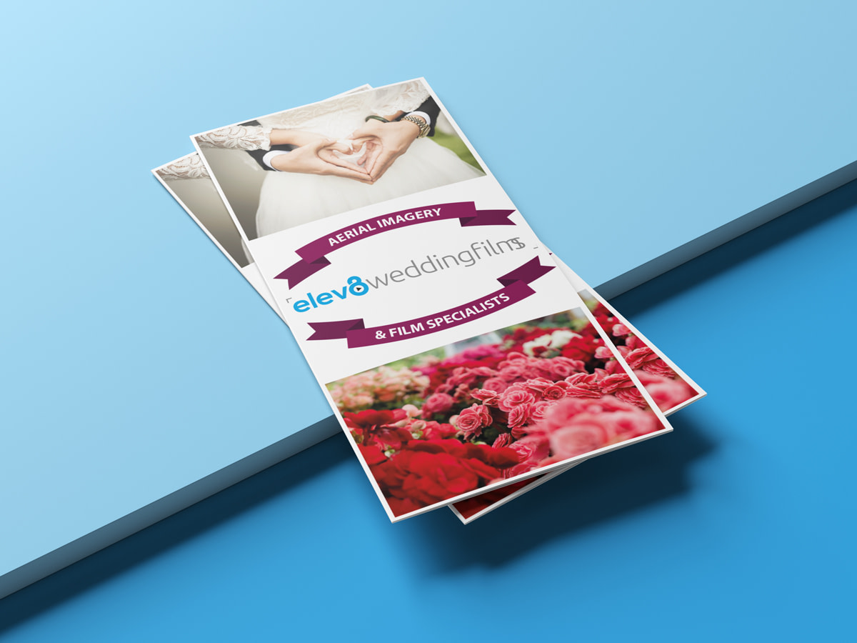Elev8 Imagery Print Design Tri Fold Leaflet Front View Stacked