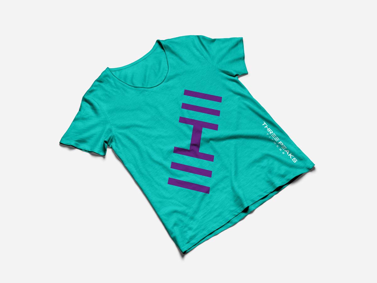 three peaks fitness tshirt mockup