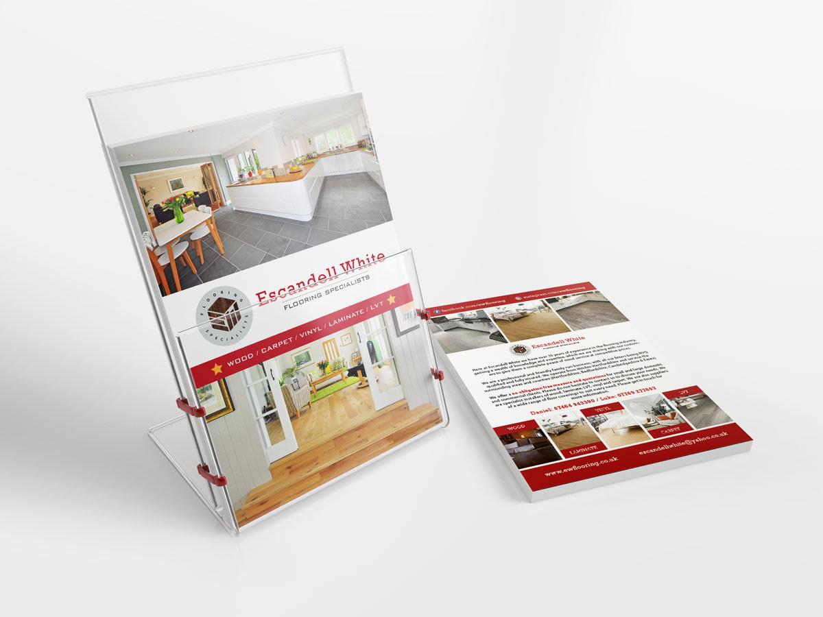 escandell white hertfordshire flooring specialists business A5 leaflet holder mockup