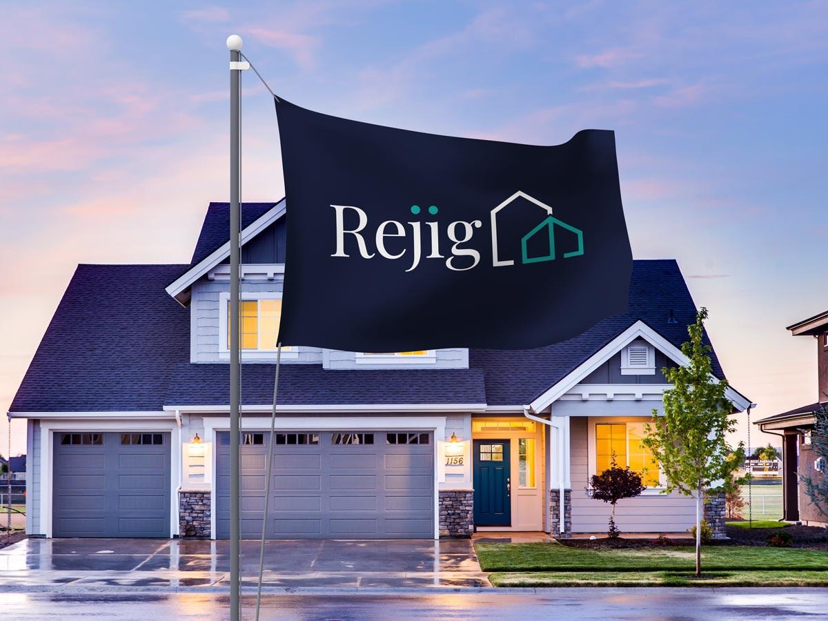REJIG HOMES ARCHITECT BRAND DESIGN PROMOTIONAL FLAG MOCKUP