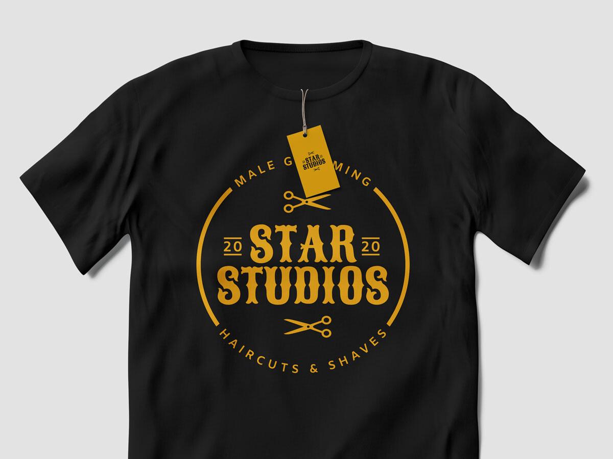 STAR STUDIOS BRAND IDENTITY BLACK TSHIRT MOCKUP uai