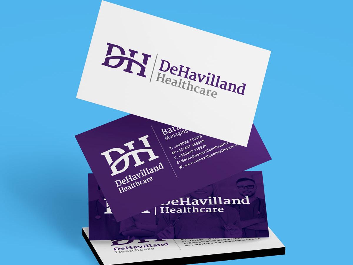 Dehavilland healthcare brand identity Stacked Business Card Mockup uai