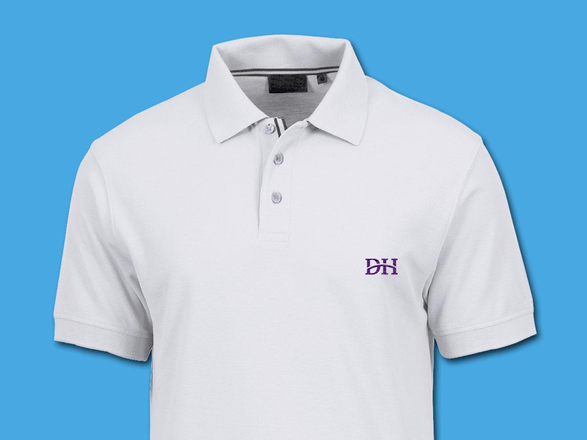 Dehavilland white polo shirt mockup