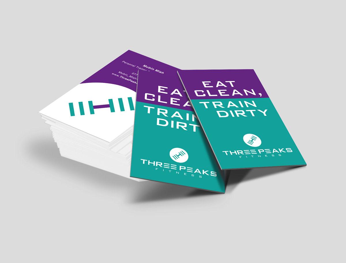 three peaks fitness branding design business card mockup