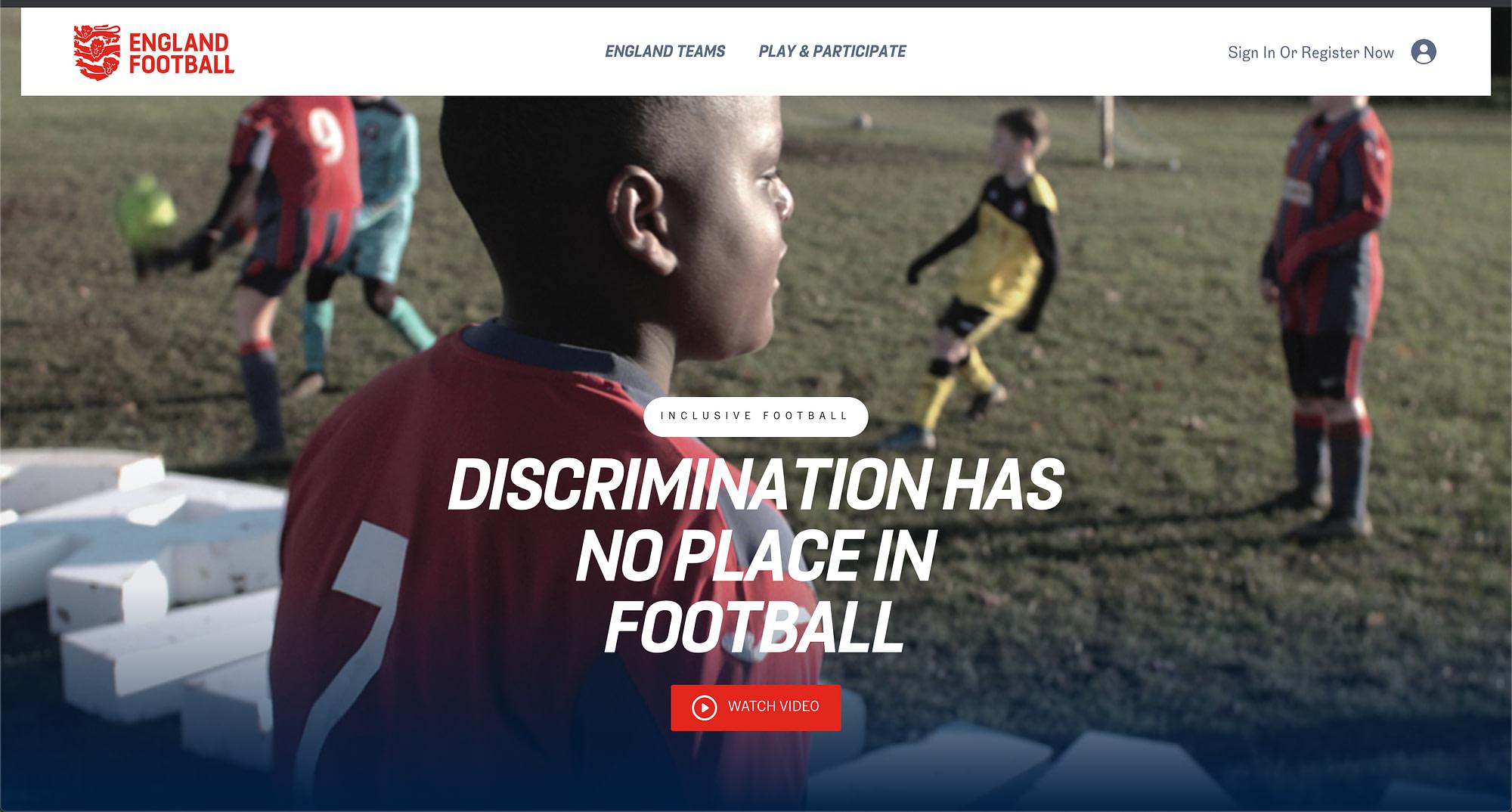 england football new website anti discrimination