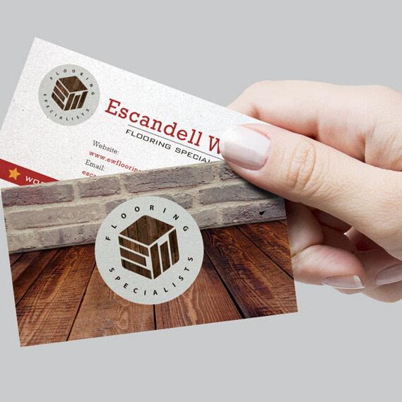 escandell white logo design hertfordshire business card design uai