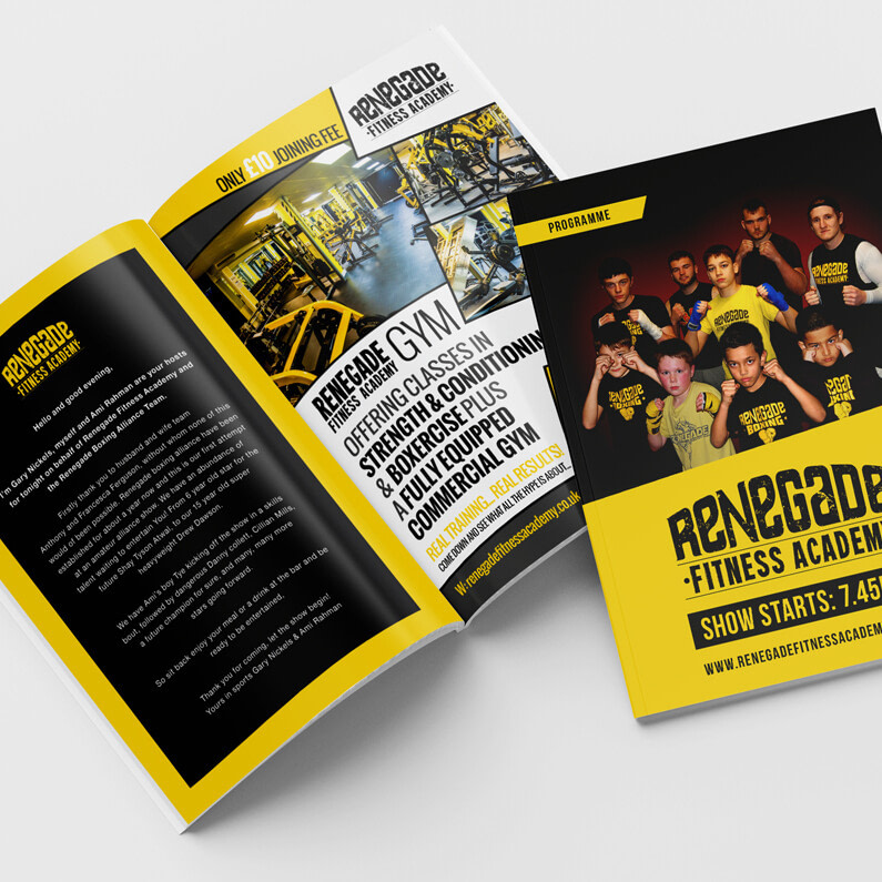 Renegade Fitness Academy Fight Night Programme Mockup Inside Front View uai