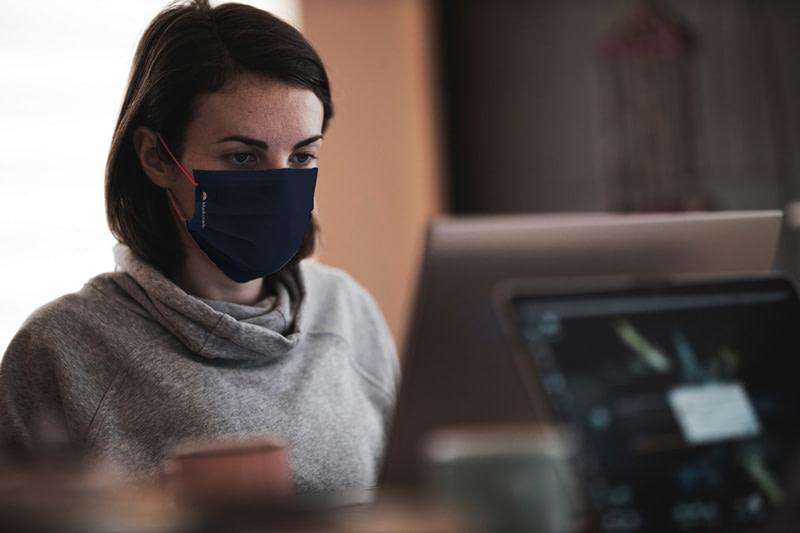 maskerade brand identity female working mockup optimised