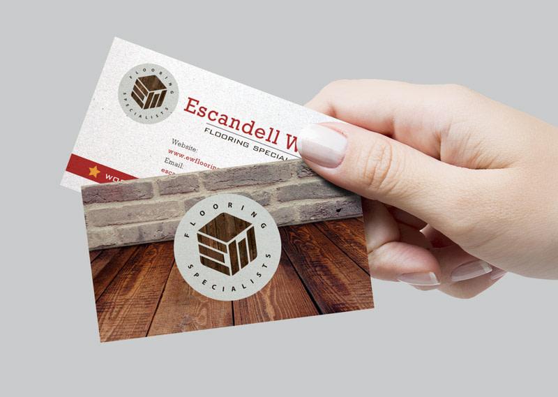 escandell white logo design hertfordshire business card design