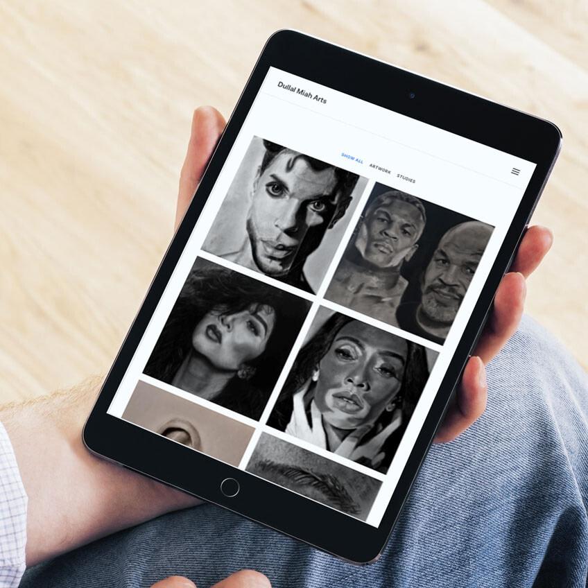 hyperrealism artist website design tablet mockup uai