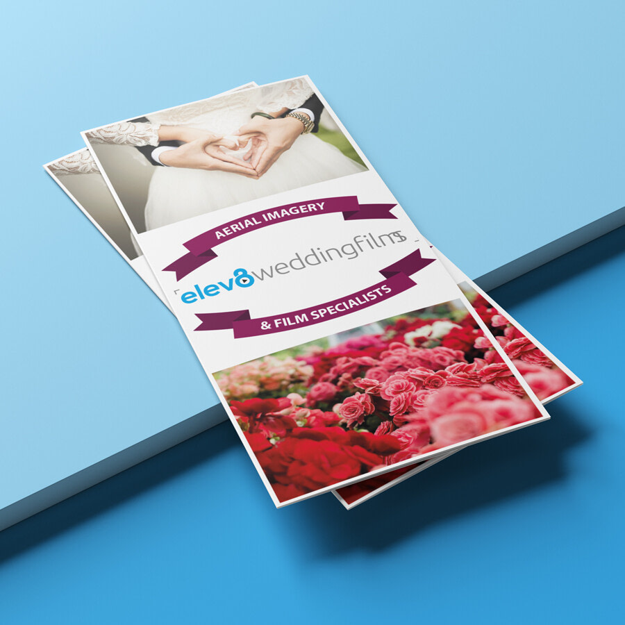 Elev8 Imagery Print Design Tri Fold Leaflet Front View Stacked uai