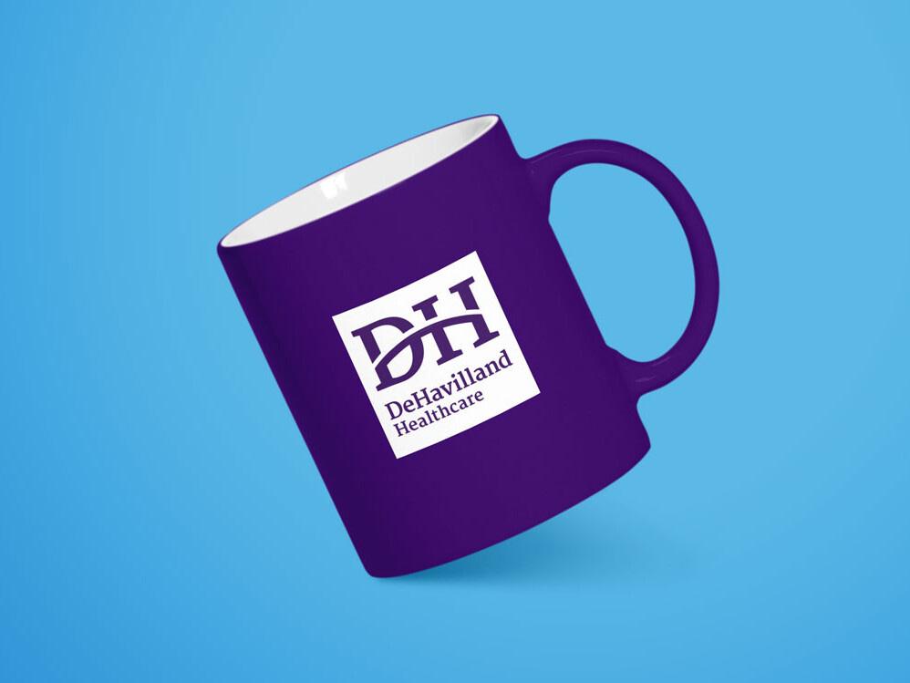 DeHavilland healthcare recruitment coffee mug mockup uai